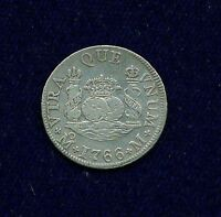 MEXICO SPANISH COLONIAL CHARLES III  1766 MOM  2 REALES SILVER COIN XF