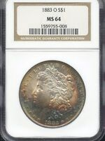 1883 O MORGAN SILVER DOLLAR NGC MS64 008
