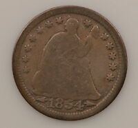 1854 LIBERTY SEATED HALF DIME ARROWS AT DATE G69