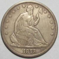 1875 S  LIBERTY SEATED  HALF DOLLAR  NICE ORIGINAL FINE   FREE U.S. SHIP