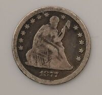1877 CC LIBERTY SEATED QUARTER DOLLAR VARIETY 4  CARSON CITY G32