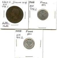LOT OF 3 FRANCE 10 & 50 CENT COINS: 1865 A 1944 B 1944 B 37539