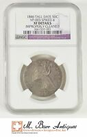 1846 TALL DATE SEATED LIBERTY SILVER HALF DOLLAR NGC VP 003 SPIKED 4 XF DETAILS