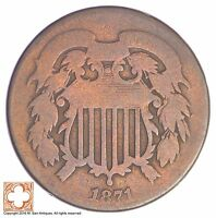 1871 TWO CENT PIECE YB22