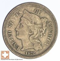 1872 THREE CENT PIECE   COPPER NICKEL YB20