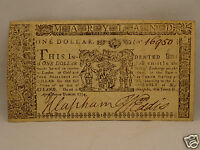 FINE 241 YR OLD COLONIAL CURRENCY NOTE $1 APRIL 10 1774   ANNAPOLIS MARYLAND