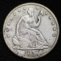 1859 S SEATED LIBERTY HALF DOLLAR CHOICE FINE/VF   E353 MH