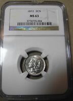 1872 3 CENT NICKEL NGC MS63 CHOICE BRILLIANT MUCH R DATE IN MS