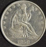 1858 O SILVER SEATED LIBERTY HALF DOLLAR  AU DETAILS  B