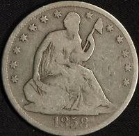 1858 O SILVER SEATED LIBERTY HALF DOLLAR VG  D