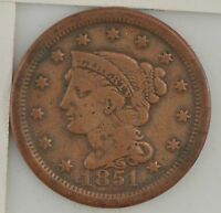 1851 BRAIDED HAIR LARGE CENT Z51