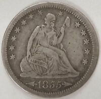 1855 P SEATED LIBERTY SILVER QUARTER WITH ARROWS MINTED 1838 1891   LOT 8714