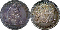 1883 SEATED HALF DOLLAR    DATE NICELY RE TONED OLD ANACS HOLDER  AU DET.