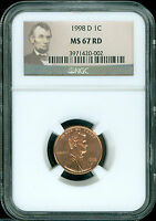 1998 D LINCOLN CENT NGC MS67 RED  2ND FINEST REGISTRY $50 RETAIL