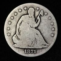 1871 S SEATED LIBERTY HALF DOLLAR CHOICE VG