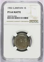 1902 GREAT BRITAIN SILVER 1 ONE SHILLING PROOF COIN    NGC PF 64 MATTE   KM 800