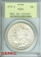 1879-S MORGAN SILVER DOLLAR S$1 PCGS MINT STATE 66 MINT STATE 66 OLD GREEN HOLDER OGH