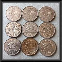 1932 1934 1936 1941 1942 1945 1951 1958 1961  CANADIAN 5 CENTS COINS.CIRC .4