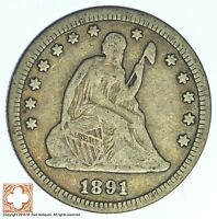 1891 S SEATED LIBERTY SILVER QUARTER XB28