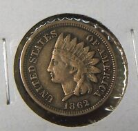 1862 INDIANHEAD CENT  FINE  TOUGH DATE COIN