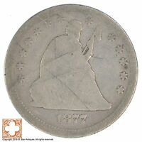 1877 SEATED LIBERTY SILVER QUARTER XB66