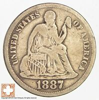 1887 SEATED LIBERTY SILVER DIME 2930
