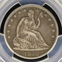 1849 SEATED HALF DOLLAR   CHALLENGING EARLY DATE CHOICE ORIGINAL PCGS VF25