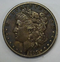 {BJSTAMPS}  1887 S MORGAN SILVER DOLLAR  CHOCOLATE BROWN COLOR