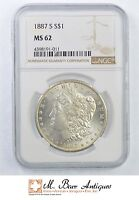 MINT STATE 62 1887-S MORGAN SILVER DOLLAR - GRADED NGC 440