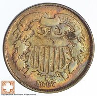 1867 TWO CENT PIECE DOUBLE DIE OBV XB06