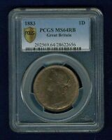 GREAT BRITAIN VICTORIA 1883  PENNY CHOICE UNCIRCULATED CERTIFIED PCGS MS64 RB