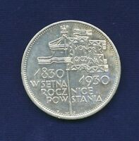 POLAND  1930  5 ZLOTYCH SILVER COIN CENTENNIAL OF 1830 REVOLUTION XF/AU