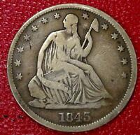 EARLY YEARS U.S SILVER COIN1843 O SEATED LIBERTY HALF DOLLAR F/FINE CF69