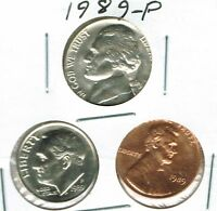 1989 THREE PHILADELPHIA BRILLIANT UNCIRCULATED  CENT NICKEL & DIME COINS