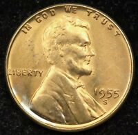 1955 S UNCIRCULATED LINCOLN WHEAT CENT PENNY BU B04