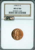 1998 D LINCOLN CENT NGC MAC MS67 RED PL 2ND FINEST REGISTRY