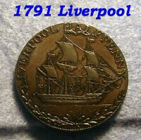 1791 MAN O WAR SHIP BRITISH CONDER TOKEN LIVERPOOL COLONIAL HALF PENNY COIIN AU