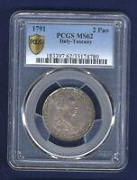 ITALY TUSCANY 1791 2 PAOLI 16 CRAZIE UNCIRCULATED &  CERTIFIED PCGS MS62