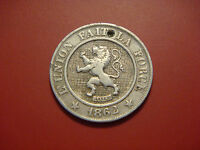 BELGIUM 10 CENTIMES 1862 LION  ANIMAL COIN
