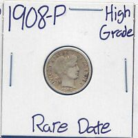 1908 P BARBER SILVER DIME US MINT  DATE SILVER COIN HIGH GRADE 90