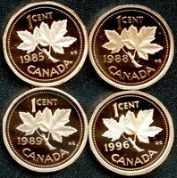 CANADA 1985 1988 1989 & 1996 PROOF 1 CENT COINS