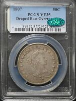 1807 50C OVERTON 110A DRAPED BUST SILVER HALF DOLLAR PCGS VF35 TY 2 CAC APPROVED