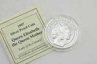 SILVER PROOF 20 CROWNS TURKS & CAICOS QUEEN MOTHER 1937 CORONATION 1997