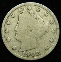1902 LIBERTY BARBER V NICKEL G GOOD B04