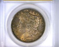 AU58 ANACS BEAUTIFULLY TONED 1883 MORGAN SILVER DOLLAR U.S. COIN 1883