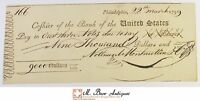 1799 $9000.00 PHILADELPHIA BANK OF THE UNITED STATES CHECK 1700'S VINTAGE 526