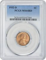 1932 D LINCOLN CENT MS64RD PCGS MINT STATE 64 RED