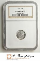 PF68 CAMEO 1953 ROOSEVELT SILVER DIME   GRADED NGC SC17