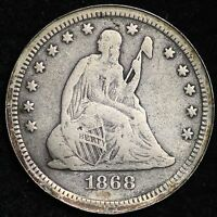 1868 S SEATED LIBERTY QUARTER CHOICE FINE  E240 ALM