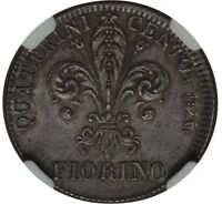 ITALY / ITALIAN STATES  TUSCANY  1826  1 FIORINO SILVER COIN NGC CERTIFIED MINT STATE 63